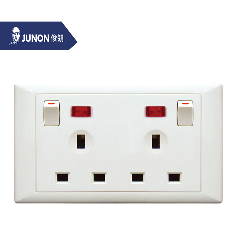JUNON High Quality Double 3 Pin with Light Electric Wall Switch and Socket