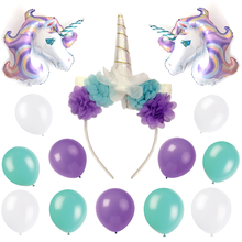 unicorn party supplies horn headband balloons birthday party decorations