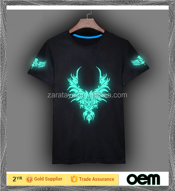 2015 sublimation printing sports glow in the dark t shirts sport dry fit running t shirts