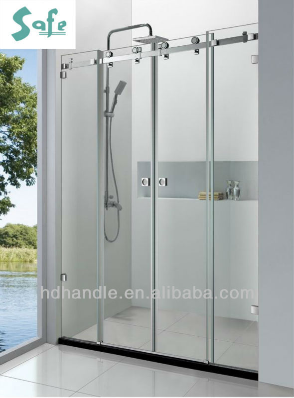 Sliding frameless screen shower unit