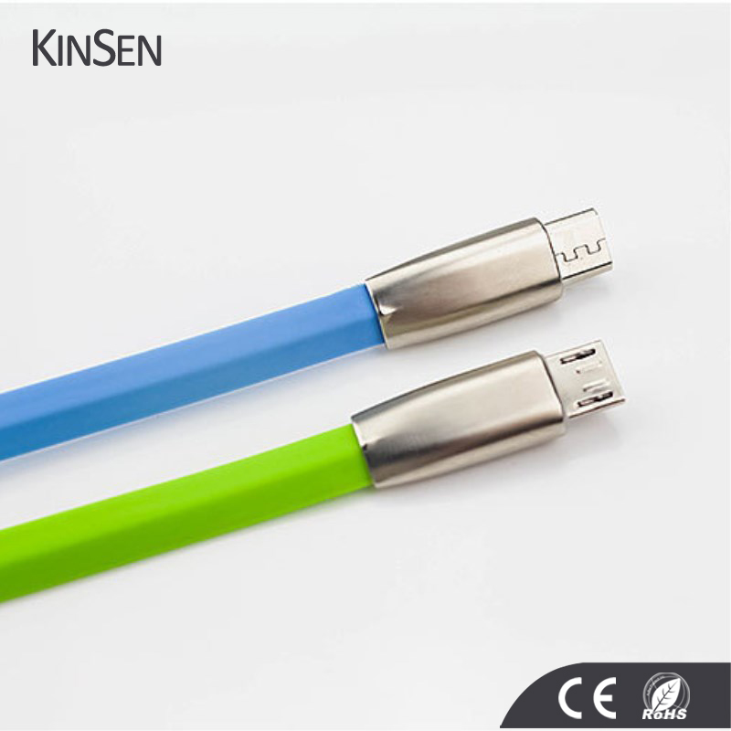3D Zinc Alloy Head Candy Color Black micro usb cable 2.4A Fast Charging for iPhone Usb Cable