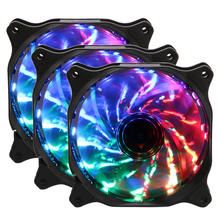 Most Quiet 120mm <strong>RGB</strong> Computer Gaming PC Fan With 15 LED Lights Auto Changing 3-PACK