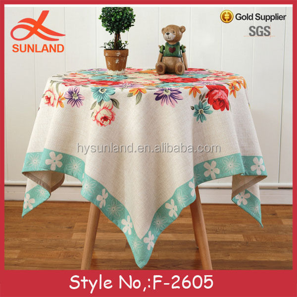 F-2605 new fashion custom flower pattern party linen ruffled table cloth from guangzhou