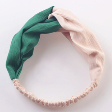 Wholesale Simple but Chic Twist Knot Two Tone Womens Polyester Fabric Stretchy Turban Head Wrap