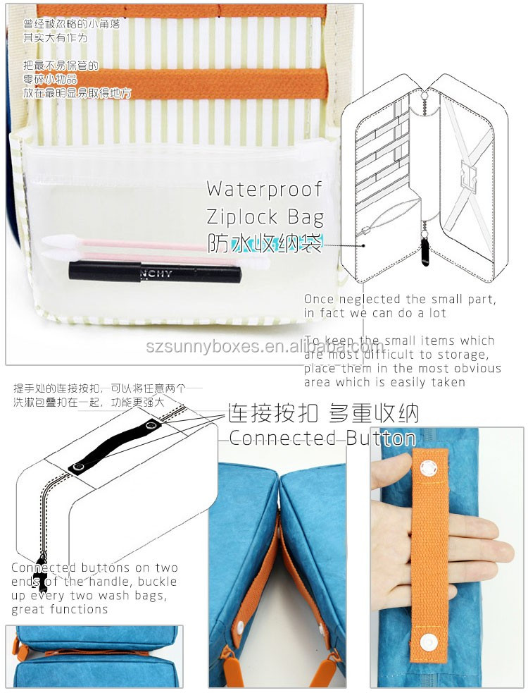 Direct Factory Zipper Closure Tyvek Paper Lingerie Bath Accessories Travel Laundry Wash Bag With Cotton Handle