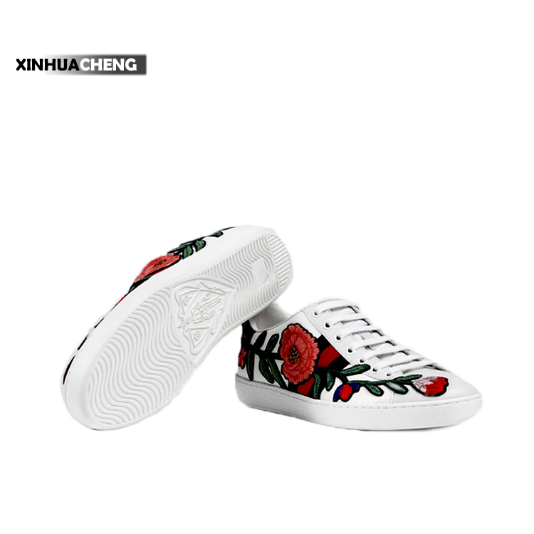 fancy ladies embroidery flat sneakers shoes