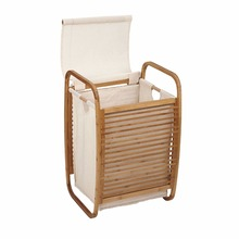 High quality custom storage wood laundry hamper Bamboo with handle and bag
