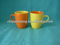 yellow and orange couple belly shaped ceramic coffee mug for lover
