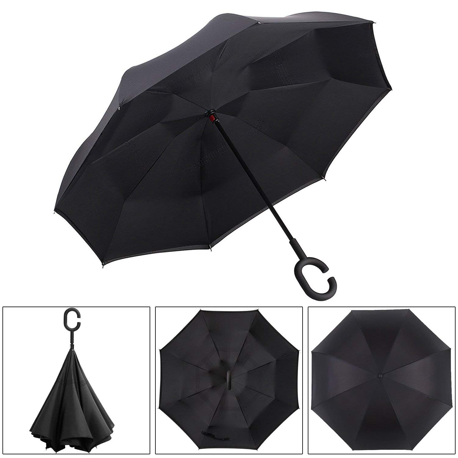 2019 Trending  Double Layer Upside Down Windproof Sunflower Printing Inverted Umbrella