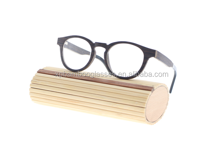 Stylish Design Hand Polished Unisex Round Black Oak Wood Optical Glasses