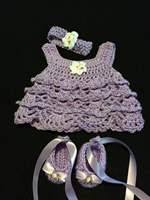 Crocheted Baby Set Outfit 3PC Dress Headband Ballerina Slippers