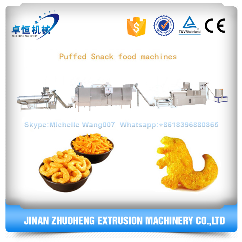 Crispy puffed Corn snacks food processing line/extruder machine