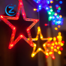 Multi color led curtain light decorative icicle star indoor outdoor light up christmas decorations