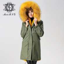 Italian style women real fur coat rabbit fur lining coat jacket korean style long style fur coat