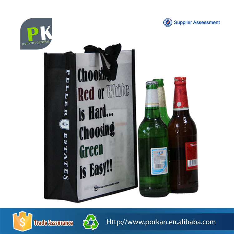 2016 Foldable PP Non Woven Recycle Fabric Beer Bottle Bag