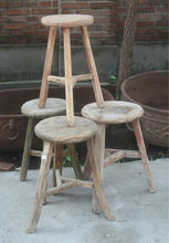 Chinese antique rustic natural solid wood stool