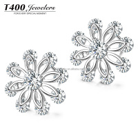 T400 hot sale jewelry Fashion Jewelry Fancy and Elegant Earrings Zirconia Earrings SnowFlake#8457