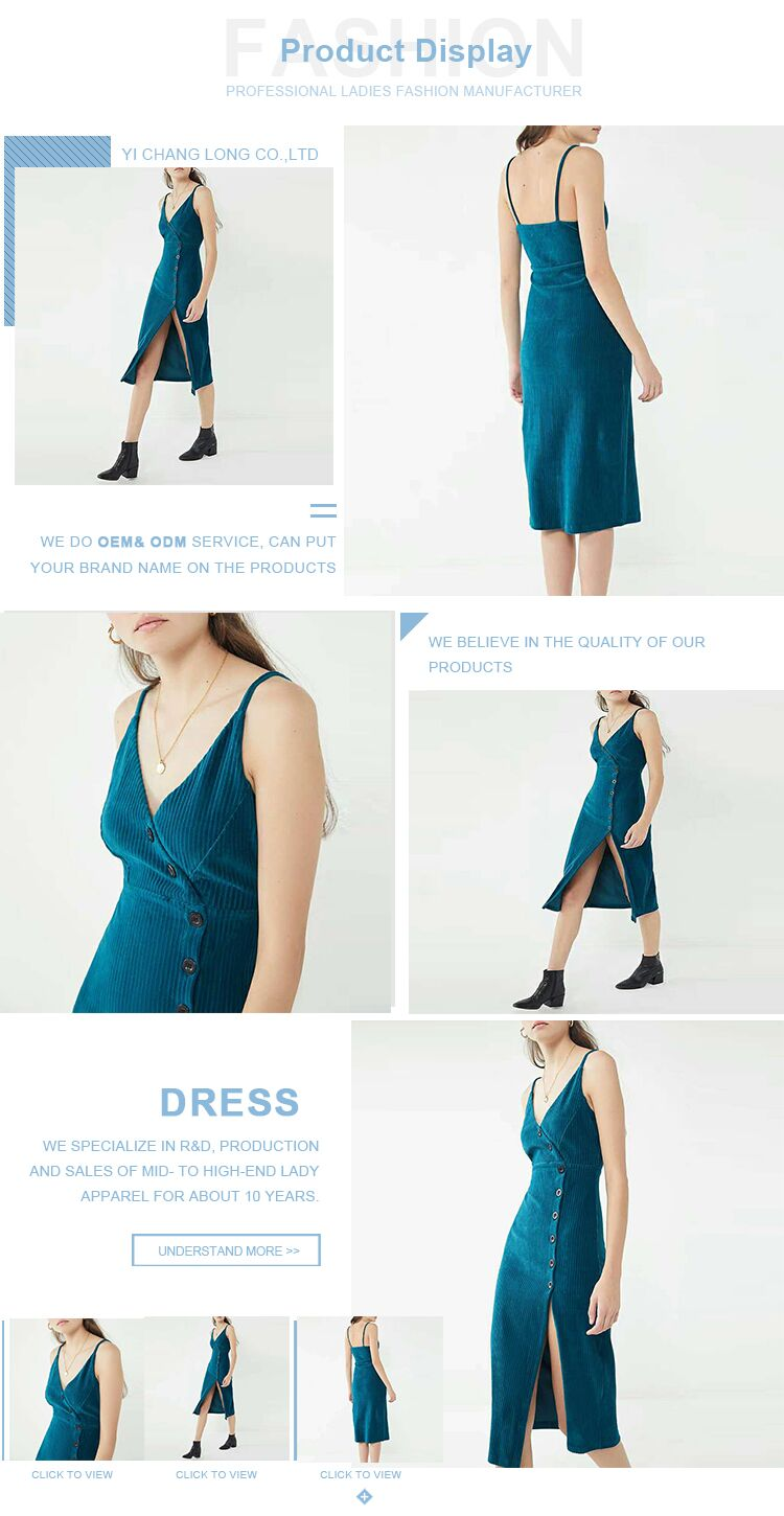 Women's Casual Deep-V Neck Sling Denim Dresses