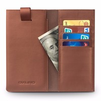 QIALINO Drop Ship Case, Ultra Thin Real Natural Leather Wallet For iPhone 6 6s Plus