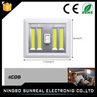 4*AAA Magnet and Sticker Dual 4W COB 300LM LED Wireless Night Light With Switch