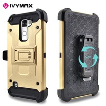 IVYMAX New Product Phone Case For LG Stylus 2 K520 Black Holster Case With Kickstand