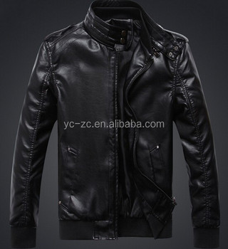 European fashion motorcycle leather jacket faux leather jacket men