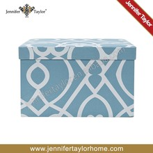 Square printed cotton fabric covered storage decorative home furnishing boxes