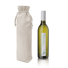 custom 100% cotton drawstring single wine beer bottle bag