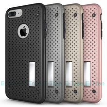 Shockproof Heavy Duty Mesh Net Mobile Phone Case For iphone 7plus, For iphone 7plus 2 in 1 Hybrid kickstand back case