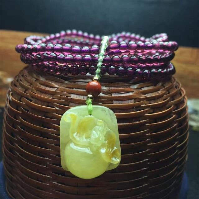 wholesale new fashion trendy natural purple garnet bracelet with amber gemstone pendant for women