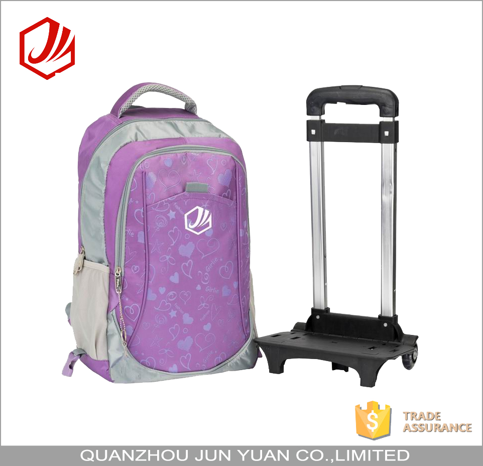 Convenient school travel backpack with detachable wheels