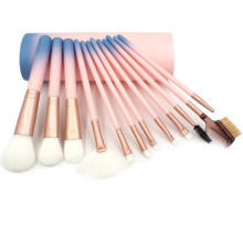 12 Pcs Professional Makeup Brushes kits Synthetic Hair Powder Blush Contour Brush Gradient Discoloration Cylinder Holder