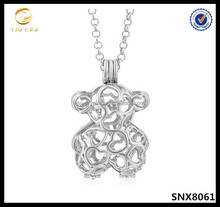 Sterling Silver Bear Cage Pendant 925 Silver Bear Shaped Pearl Cage Pendant Necklace