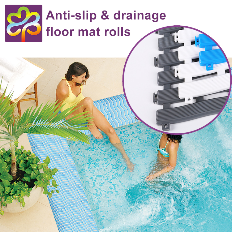 Eco - friendly swimming pool using non slip plastic floor roll mat