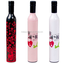 Customized Deco Cap Cheap Promotional Rose Perfume Wine Bottle Shape Umbrella In Small Quantity