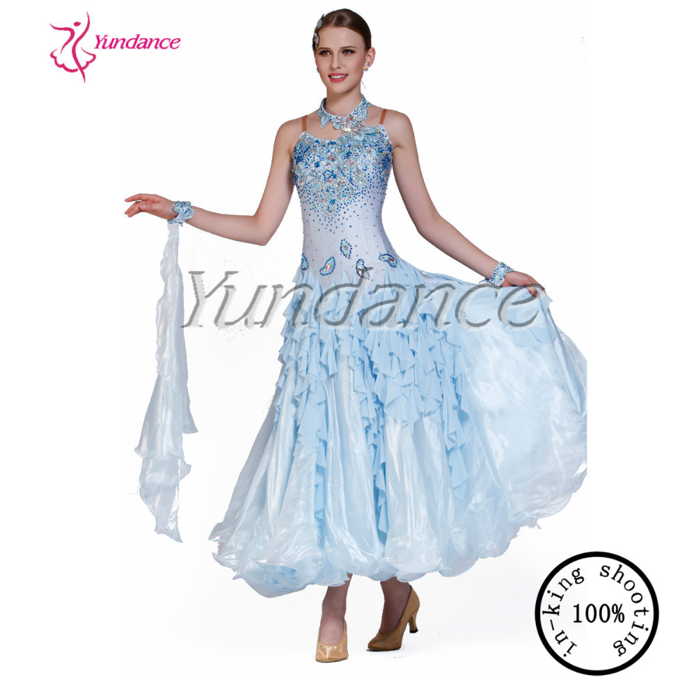 2016 Light Blue Long Sexy Ballroom Dance Dress B-13207