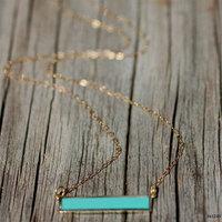 Long Pendant Bar Turquoise Enamel Delicate Minimalist Necklace
