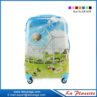 Wholesale china cheap wheeled luggage, abs with pc printing travel luggage set