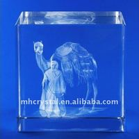 3D Etched Arabic Man and Camel Crystal Block MH-F0107