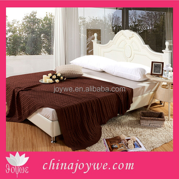 High Quality Thermal Cotton Blanket 100 Cotton Knitted Bedspread Bed Cover