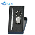 metal boxed stationary gift set with pen & keychain