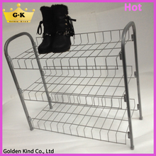 Iron chrome wire type 3 tiers simple design compact shoe rack