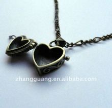Antique brass heart shape prayer box necklace. Stylish, Locket, Friendship