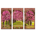 Garden View Giclee Print Wholesale Framed Pink Flowers Canvas Painting Decorative Landscape Photos Canvas Prints 3 Panels