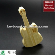 factory top selling bamboo usb flash drive in guitar shape