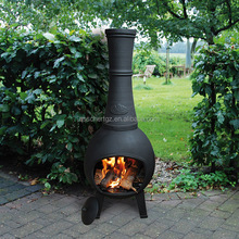 Esschert Design cast iron black powder coated outdoor chiminea decorativa