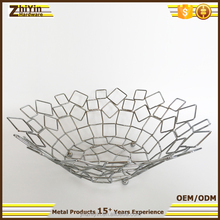 Modern beautiful office metal wire shallow fruit basket cheap price China manufacturer