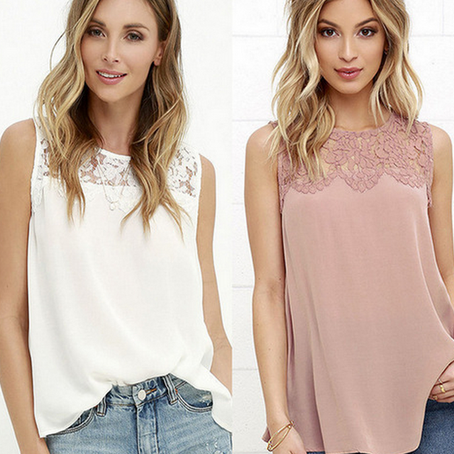 2018 New Fashion Women Lace Blouse Sleeveless Summer Tops For Women