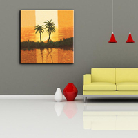 China factory sunset scenery coconut tree landscape oil canvas painting