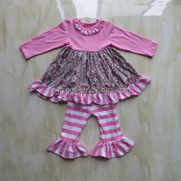 Toddler Girls Boutique Clothing Sets Pink Long Sleeves Dress With Pink And White Striped Pants Suits